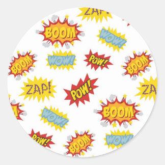Comic book style sound effect pattern round sticker