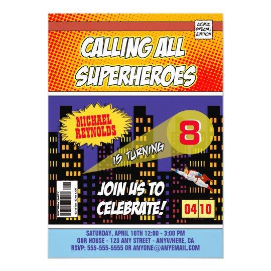 Comic Book Superhero Birthday Invitations