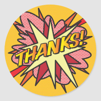 Comic Book THANKS! Classic Round Sticker