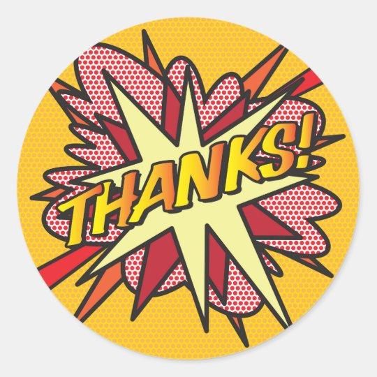 Comic Book THANKS! Classic Round Sticker