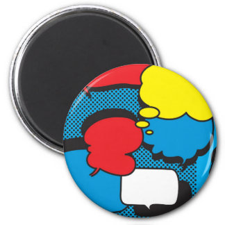 Comic Book Thought Bubbles 6 Cm Round Magnet