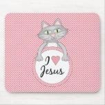 Comic Cat I Love Jesus Mousepad