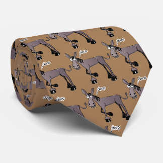 Comic donkey mosaic with sand brown background tie