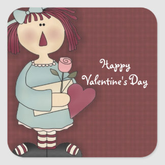 Comic Girl My Sweetheart Valentine's Day Stickers