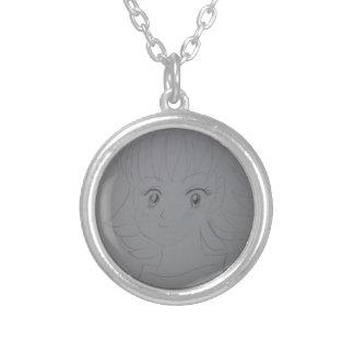 Comic Girl Round Pendant Necklace