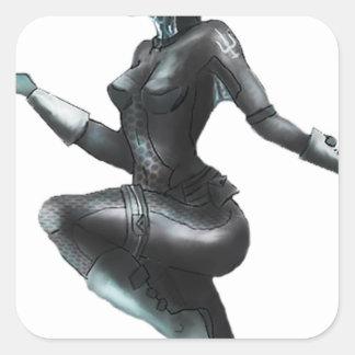 Comic Heroine / Fish Lady Square Sticker