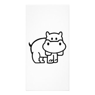 Comic hippo personalized photo card