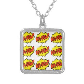 Comic 'Ka-Pow!' Square Pendant Necklace
