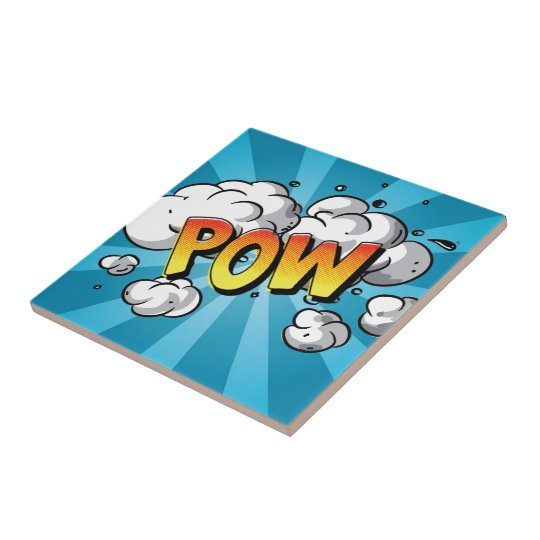 "Comic Line - ""POW "" Small Square Tile"