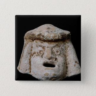 Comic mask 15 cm square badge