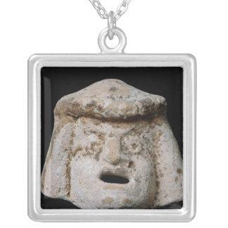 Comic mask square pendant necklace