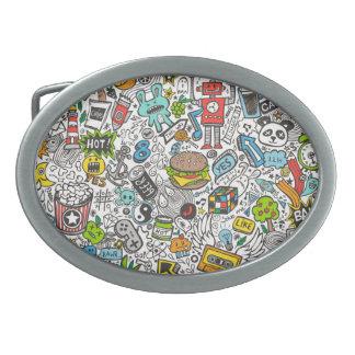 Comic Pop art Doodle Belt Buckle