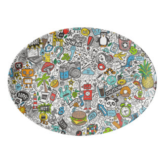Comic Pop art Doodle Porcelain Serving Platter
