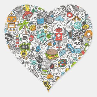 Comic Popart Doodle Heart Sticker