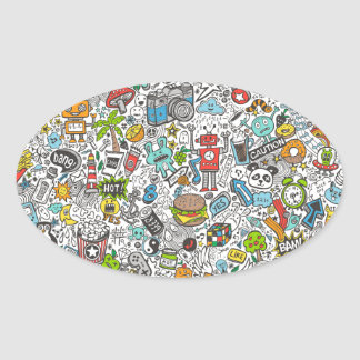 Comic Popart Doodle Oval Sticker