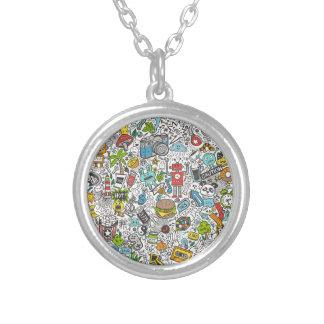 Comic Popart Doodle Round Pendant Necklace