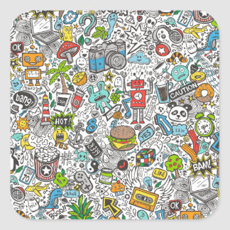 Comic Popart Doodle Square Sticker