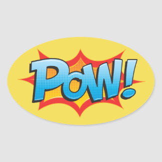 Comic Pow! Oval Sticker
