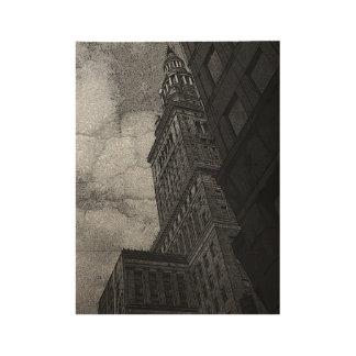 Comic Skyscraper Wood Poster