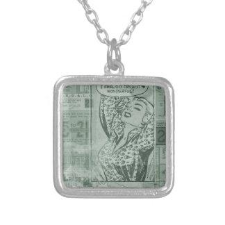 Comic Square Pendant Necklace