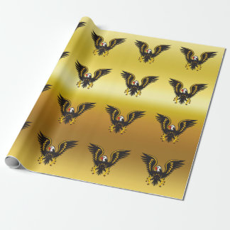 Comic strip Black and Gold eagle with gold foil Wrapping Paper