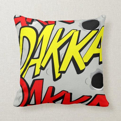 Comic-strip cushion – dakka, dakka, dakka! throw pillows