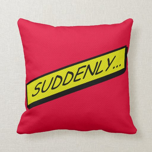 Comic-strip cushion – suddenly... throw pillow
