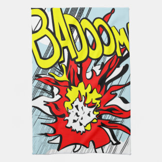 Comic-strip tea towel – badoom!