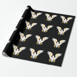 Comic strip White and Gold eagle with gold wings Wrapping Paper