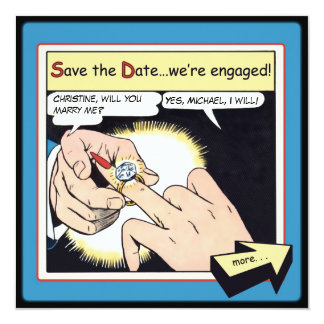 Comic Style Bling Ring Save the Date Blue Card