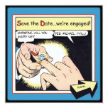Comic Style Bling Ring Save the Date Blue Personalised Invitation