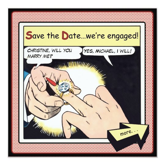 Comic Style Bling Ring Save the Date Red