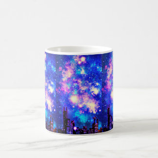 Comic Style City Skyline & Milky Way Night Sky Coffee Mug