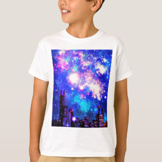 Comic Style City Skyline & Milky Way Night Sky T-Shirt