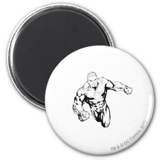 Comic Style - Green Lantern, Black and White Fridge Magnets