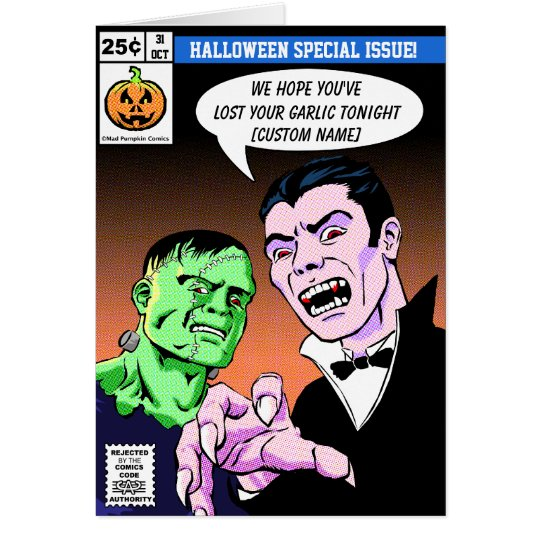 Comic Style Halloween Greetings Card