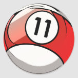 Comic Style Number 11 Billiards Ball Round Sticker