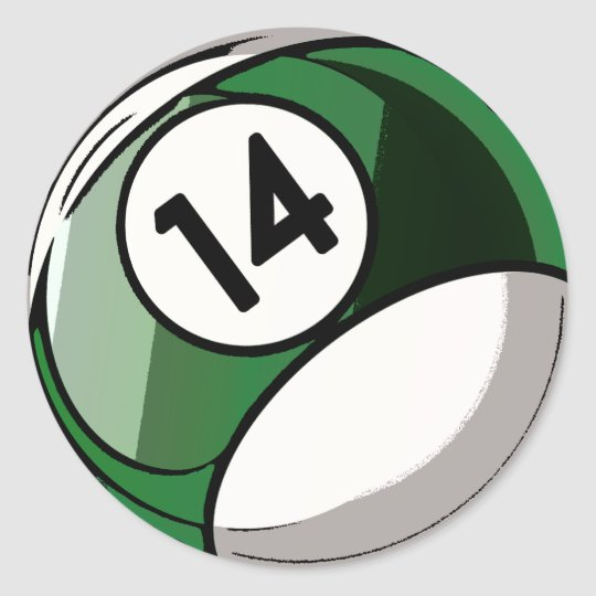 Comic Style Number 14 Billiards Ball Classic Round