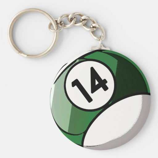 Comic Style Number 14 Billiards Ball Keychain