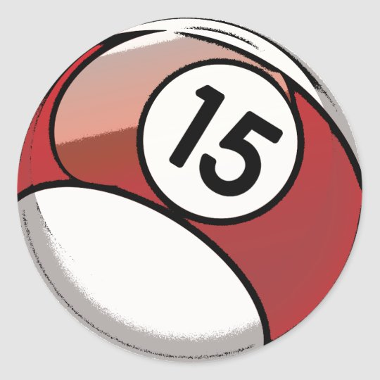 Comic Style Number 15 Billiards Ball Classic Round