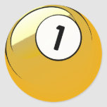 Comic Style Number 1 Billiards Ball Classic Round Sticker