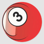 Comic Style Number 3 Billiards Ball Classic Round Sticker