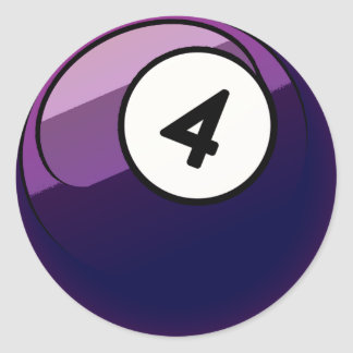 Comic Style Number 4 Billiards Ball Round Sticker