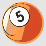 Comic Style Number 5 Billiards Ball Classic Round Sticker