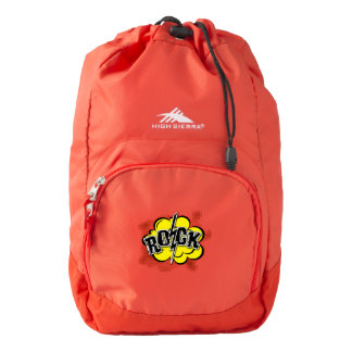 Comic style rock illustration backpack