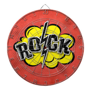 Comic style rock illustration dart board