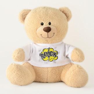 Comic style rock illustration teddy bear
