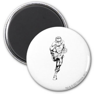 Comic Style - Running, Black and White 6 Cm Round Magnet