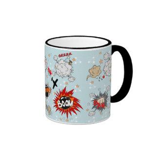 Comic Style Super Hero Design Ringer Mug