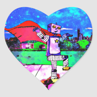 Comic Style Superhero Robot from Outer Space! Heart Sticker
